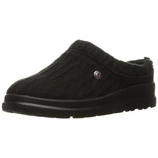 Bobs Womens Cherish-Bob-Sled Cable Knit Faux Fur Slipper Shoes