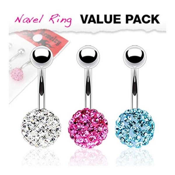 3 Pcs Pack of Clear, Pink, and Aqua Color Multi Gem Ferido Navel Belly Button Ring