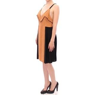 FILOS Black Bronze Silk Sleeveless Above Sheath Dress