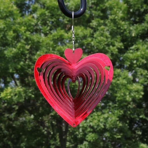 Sunnydaze Whirligig Heart Whirligig Outdoor Wind Spinner with Hook - 6-Inch