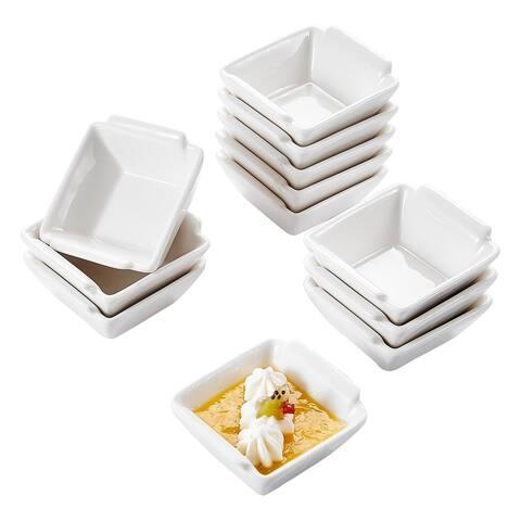 2.5'' White Porcelain Ramekins Square Serving Bowls Set of 12