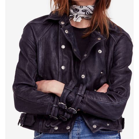 Free People Black Women's Size Large L Motorcycle Leather Jacket