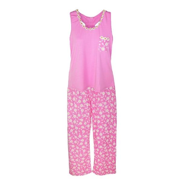 CTM® Women's Tank and Long Pant Daisy Pajama Set
