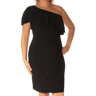 RALPH LAUREN $135 Womens New 1224 Black Cap Sleeve Sheath Dress 12 B+B