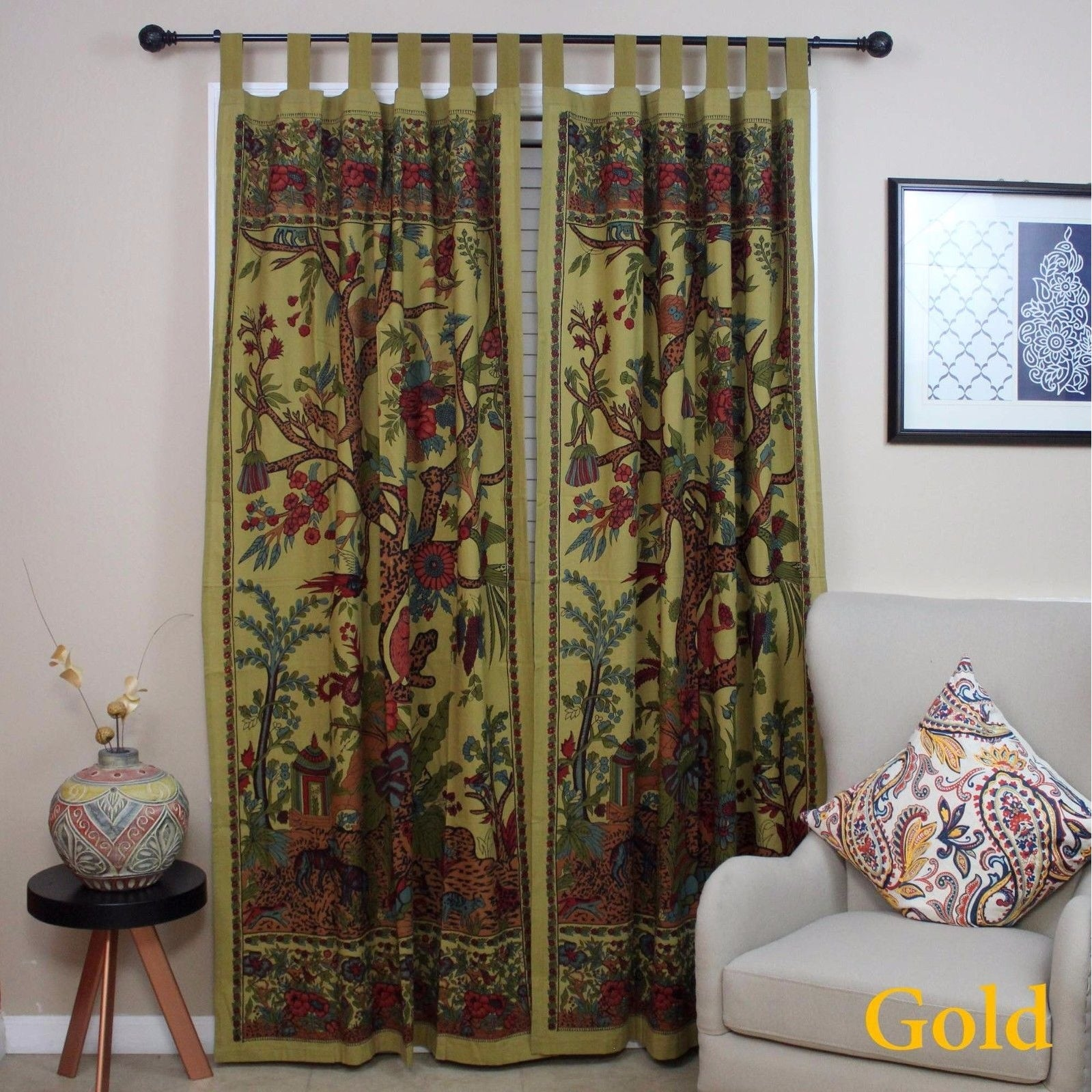 Handmade 100% Cotton Tree of Life Tab Top Curtain Drape Panel - 8 Color options - Black Gold Blue Purple Tan - 44 x 88 inches - Thumbnail 29