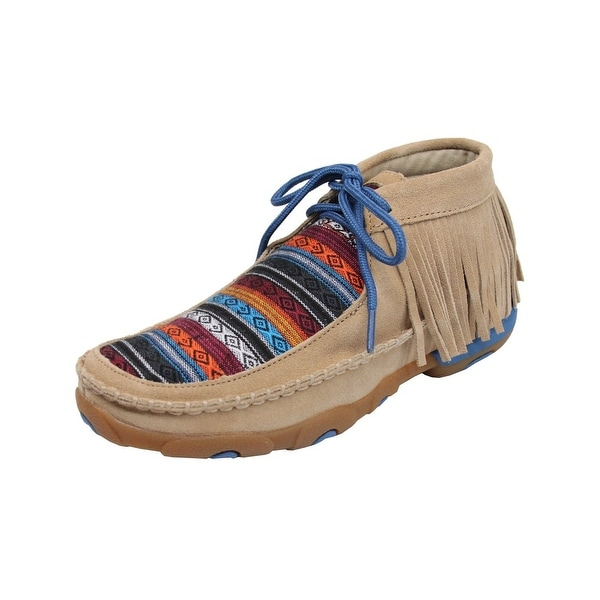 Twisted X Casual Shoes Womens Serape Fringe Driving Moc Tan