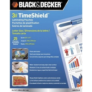 Black Decker TimeShield Laminating Pouch, 8-1/2 x 11 Inches, 3 mil, Pack of 25
