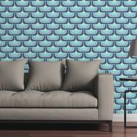 Circle Art Group Removable Wallpaper Tile - Square Koi Blue - Multi-color