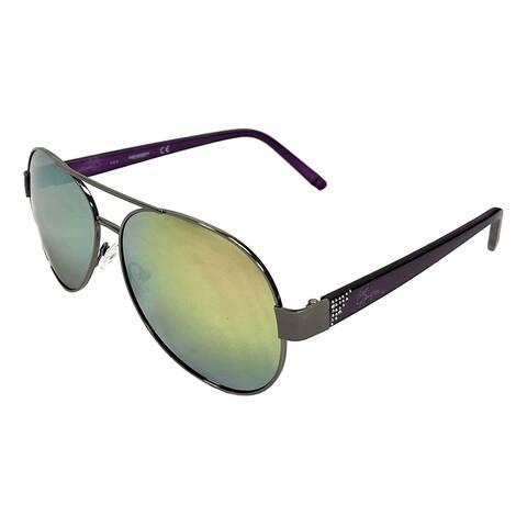 Harley-Davidson Women's Crystal Aviator Sunglasses, Gun Metal Frames & Pink Lens - Gray - 60-14-135