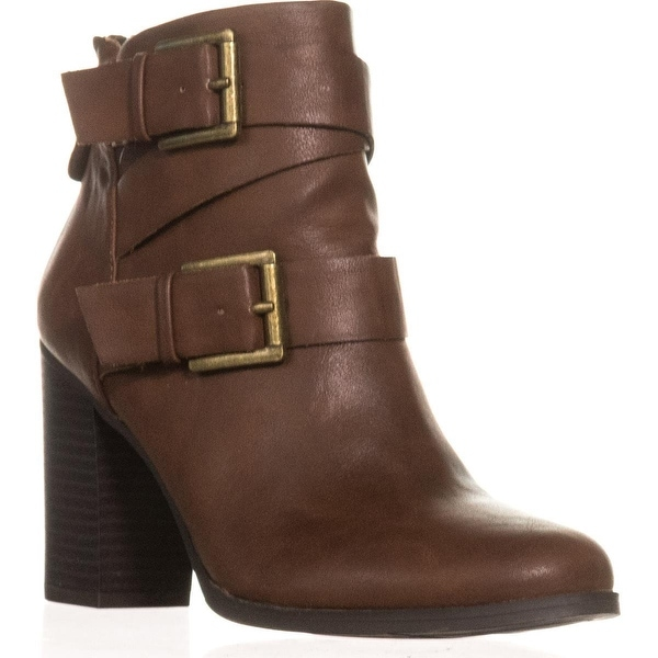 SC35 Royy Double Buckle Block Heel Ankle Boots, Chestnut - 7.5 us