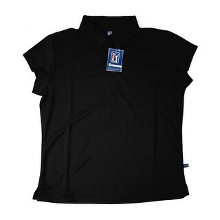 PGA TOUR Women's Polo Shirt - Black Solid - Medium