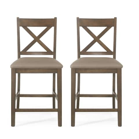 "Emory Farmhouse Upholstered Wood Counter Stools (Set of 2) by Christopher Knight Home - 20.00"" L x 22.25"" W x 41.60"""