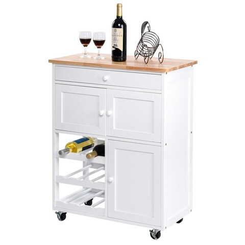 Gymax Modern Rolling Kitchen Cart Trolley Island Storage Cabinet w/Drawer&Wine Rack
