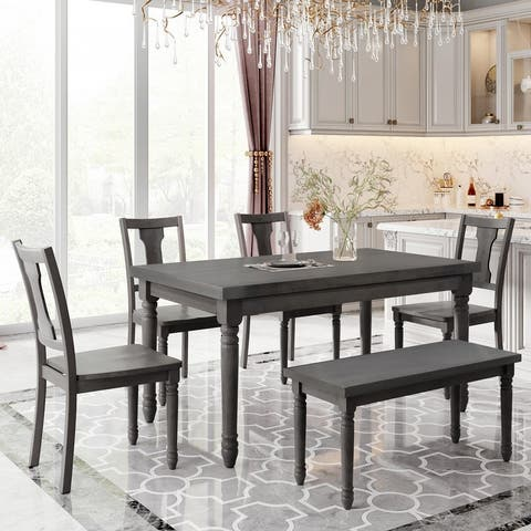 Classic Dining Set Wooden Table and 4 Chairs with Bench Gray (Set of 6)