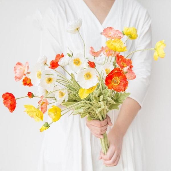 "FloralGoods Silk Poppy Flower Stem 24"" Tall"