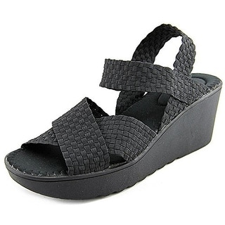 Wild Pair Womens Fortuna Basket Weave Strappy Wedges