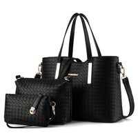 bfd4abf67f052 Fashion Ladies Leather Bag Composite Bag 3Pcs/ Lot Vintage Alligator Handbag  Woman Causal Tote Women
