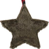 "8"" Brown Faux Fur Star Christmas Ornament Decoration"