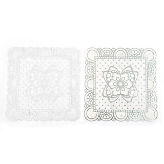 Office PVC Floral Pattern Hollow Out Teapot Glass Cup Bowl Coaster Mat 2pcs