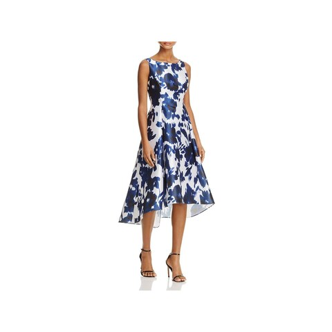 Adrianna Papell Womens Cocktail Dress Floral Print Hi-Lo