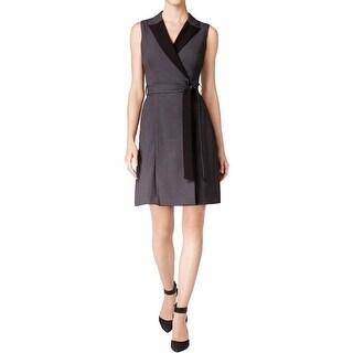 Calvin Klein Womens Wrap Dress Contrast Lapel Sleeveless (2 options available)