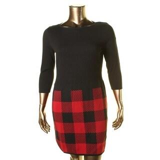 Lauren Ralph Lauren Womens Petites Knit Plaid Sweaterdress