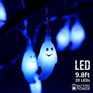 Halloween Blue Ghost LED String Lights, 8 Modes