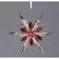 Vintage Silver Snowflake with Red Gemstones Christmas Ornament
