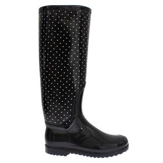 Dolce & Gabbana Black Polka Rubber Rain Boots - 41