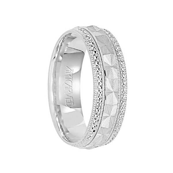 Beloved 14k White Gold Wedding Band Textured Laser Center Pattern With Diamond Cut Edges By Artcarved