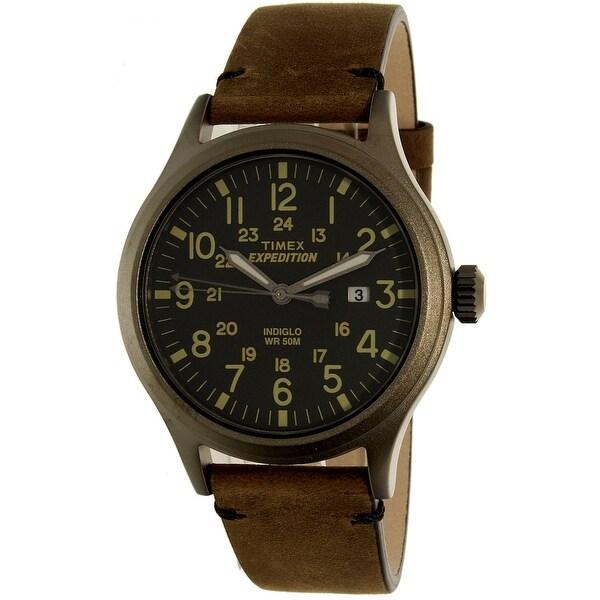 5b7a221c6 Shop Timex Men s Expedition Brown Leather Quartz Sport Watch - Free ...