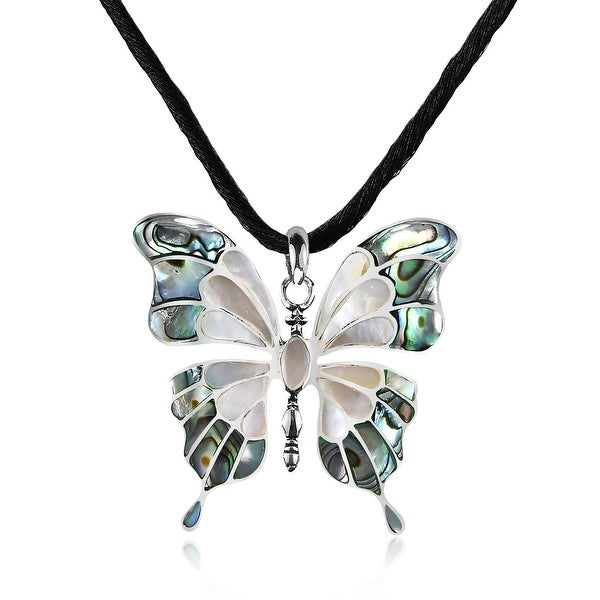 Handmade Seashell Inlaid Butterfly on Sterling Silver Silk Chord Necklace (Thailand) - Green. Opens flyout.