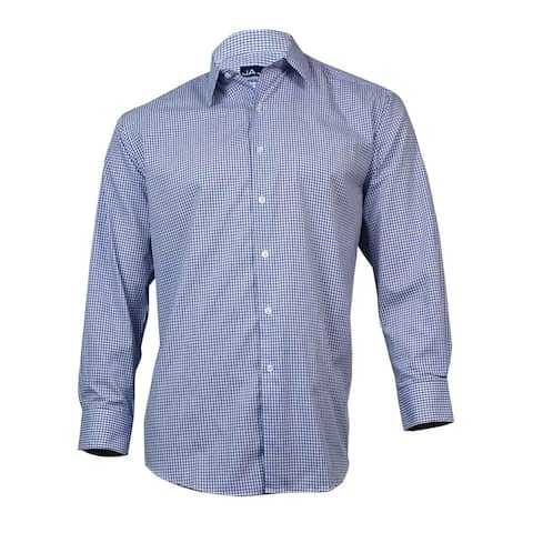 73b4aec5 John Ashford Men's Button Down Dress Shirt (White and Blue, 17/34x35)