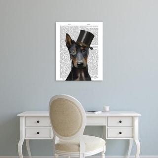 Easy Art Prints Fab Funky's 'Doberman, Formal Hound and Hat' Premium Canvas Art
