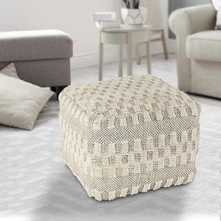 Link to Cream Tufted Checkered Geometric Pouf Similar Items in Living Room Furniture