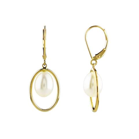 14K White Pearl Halo Leverback Earrings