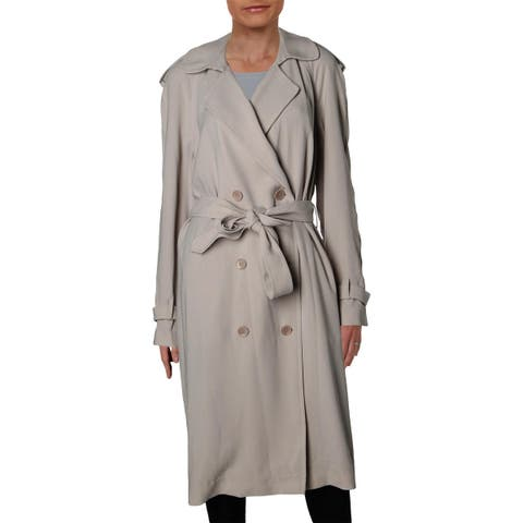Elie Tahari Womens Trench Coat Crepe Long Sleeves