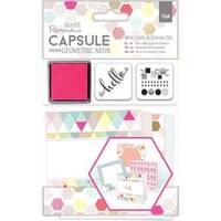 - Papermania Geometric Neon Mini Cards & Stamps Set 15/Pkg