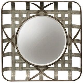"StyleCraft SC-MI12691  23 5/8"" x 23 5/8"" Circular Beveled Iron Framed Hanging Decorative Grid Mirror - Silver"