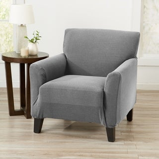 Link to Great Bay Home Knitted Jacquard Stretch Chair Slipcover Similar Items in Slipcovers & Furniture Covers