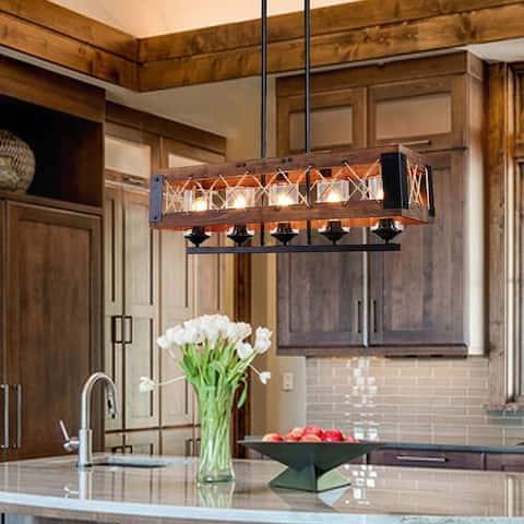 LNC Farmhouse 5-Light Rectangle Wood Chandelier Kitchen Island Lighting Rustic Ceiling Pendant Lighting