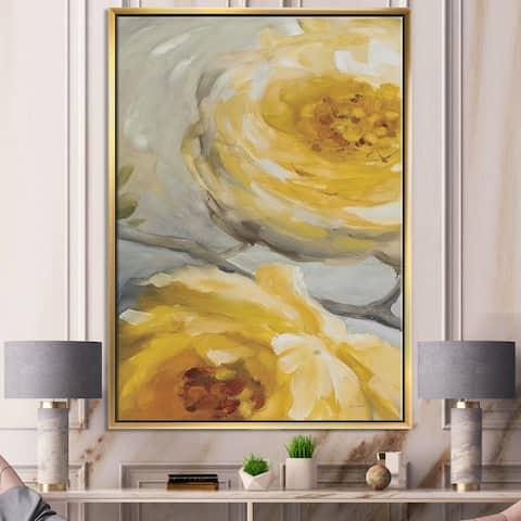 Designart 'Sunshine Yellow Flower III' Floral Framed Canvas - Grey