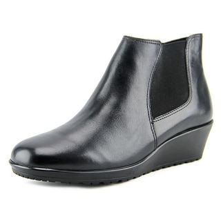 Walking Cradles Kicker Women Round Toe Leather Black Ankle Boot