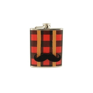 Red and Black Plaid Stainless Steel Lumberjack Drinking Flask with Detachable Mustache - 7 oz