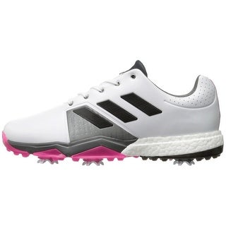 Adidas Men's Adipower Boost 3 White/Black/Shock Pink Golf Shoes Q44761/Q44766