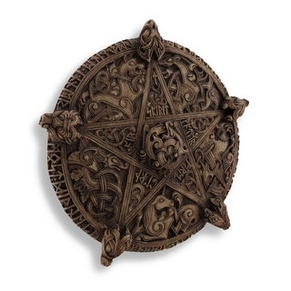 Ornate Carved Knot-Work Pentacle Wall Art Hanging - brown