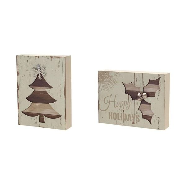 Pack of 8 Rustic Brown and White Christmas Inspired Wall Plaques 7.75""