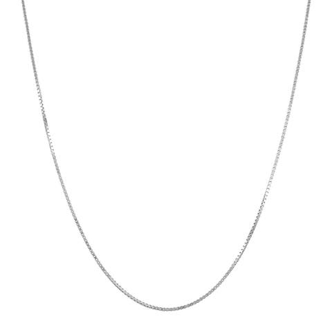 """.70 mm Box Chain Necklace in 14K White Gold, 18"""""""