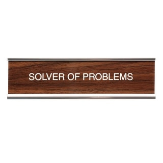 Desk Name Plate - Classic Faux Wood/Chrome Holder - Solver Of Problems
