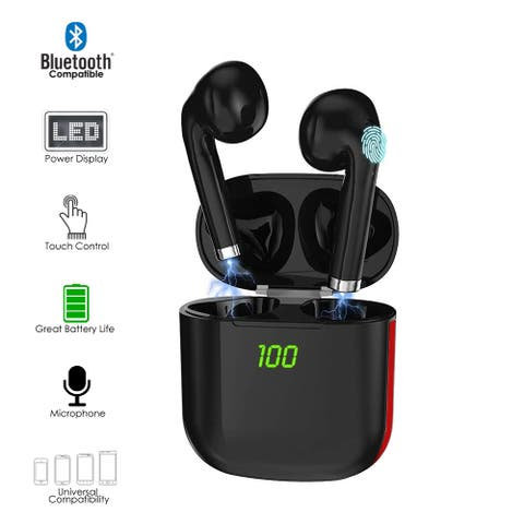 K6 EarBuds w/ Realtek v5.1 Sync, HiFi Stereo Quality, Secure Fit, Great for Fitness & Calls + Magnetic Charging Case (Black)